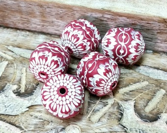 5 Red and White Stamped Bead Set for Jewelry Making, Artisan Beads, Hollow Polymer Clay Beads, Textured Beads, Rustic Tribal Style Beads
