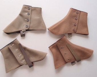 Popularity Spats vintage 1920s-30s in Gray or Fawn Brown...new old stock in box, size 10 and 11