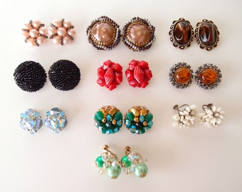Vintage Earrings -- Instant Collection -- 10 pair Lot Vendome Juliana D&E Germany clip on screw back cluster button earbobs 1950s-60s