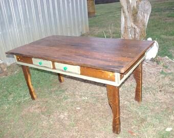 wormy chestnut table handmade