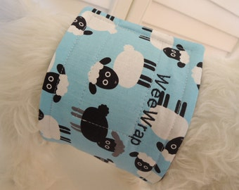 Dog Belly Band, WeeWrap in Lamb Sheep Fabric, Stops Marking,  Personalized