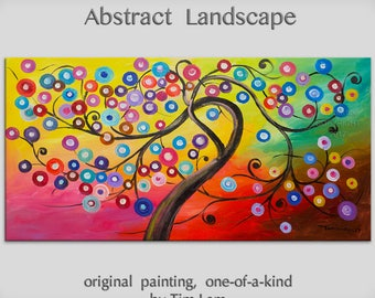 Original Surreal Blossom tree painting, large colorful abstract oil painting by Tim Lam 48x24
