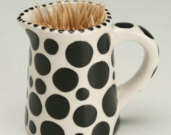 Toothpick Holder, Black Polka Dots Miniature Pitcher, Tooth Pick Holder, Black and White Holder, Small Creamer, Bud Flower Vase