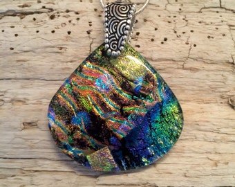 Dichroic glass pendant,Dichroic glass, Dichroic Glass jewelry, Fused Glass Jewelry, handmade dichroic glass, glass pendant, glass