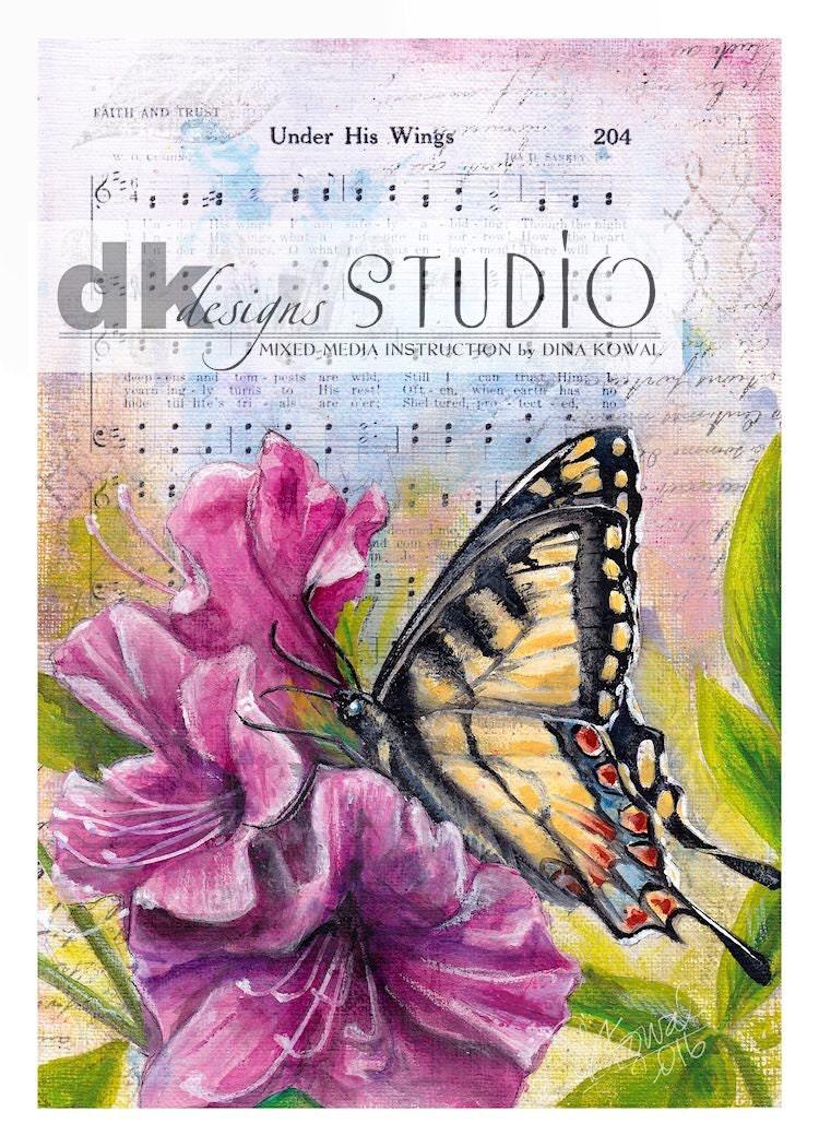 Under His Wings - swallowtail butterfly azalea hymn - domed glass tile pendant necklace