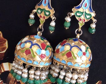 FREE SHIPPING Hareem EARRING sterling enameled ottoman turkish antique ancient inspired emerald silver gold dome