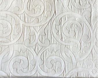 Custom Curtains Valance Roman Shade Shower Curtains in Ivory Scroll Pattern Fabric