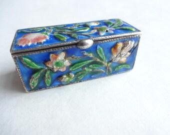 1920 Silver Enamel Trinket Box Chinese Export