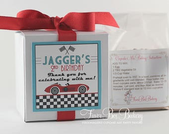 VROOOOOOM RACE CAR - One Dozen (12) Personalized Cupcake Mix Birthday Party Favors