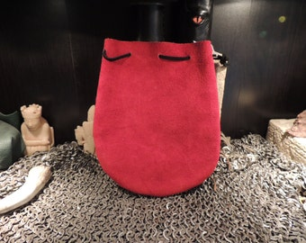 Medium Drawstring pouch (Red Suede Leather)