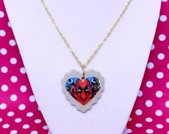Deadpool Heart Necklace