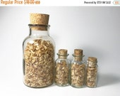 HALF OFF Vintage Apothecary Bottles with Cork Tops Clear Glass Bottles Spice Jars