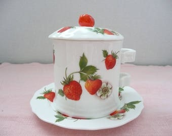 "Mann ""Strawberry Lane"" Bone China Jam Jar and Serving Dish"
