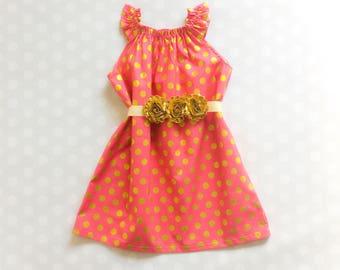 Raspberry Pink and Gold Polka Dot Dress - Baby Girl Dress - Girls Dresses - Sleeveless Dress - Summer Dress - Spring Dresses - Pink Dress