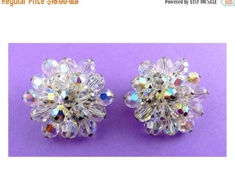 1960's Swarovski AB Crystal Faceted Round Bead Earrings -Hexagon Shaped