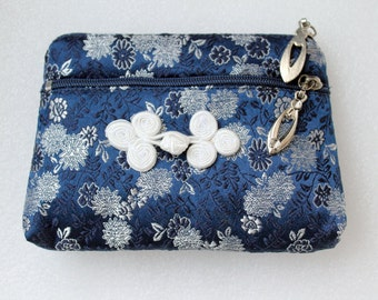 Silk Embroidered Coin Purse, Double Zipper Pouch, Smalle Change Wallet