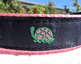 """Sale Dog Collar Turtle Stride 1"""" wide side release buckle adjustable - Limited ribbon"""