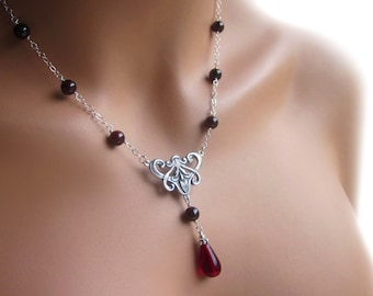 Garnet Gemstone Necklace Art Nouveau Sterling Silver Cable Chain Adjustable Womens Jewelry Gift