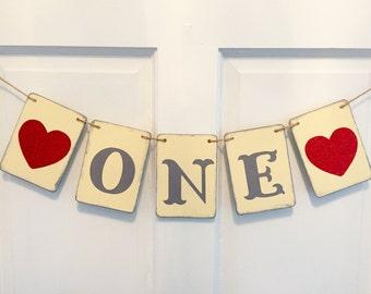Valentine ONE banner, first birthday, photo prop, i am one, smash cake banner, high chair banner, 1st birthday party, February birthday