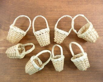 "Wicker Baskets Miniatures 1 3/4"" H x 7/8"" W to 2"" H x 1 1/4"" W - 8 Pieces"