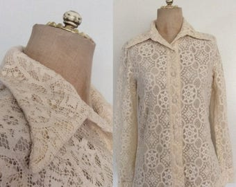 30% OFF 1970's Ivory Lace Crochet Button Up Size Small Medium by Maeberry Vintage