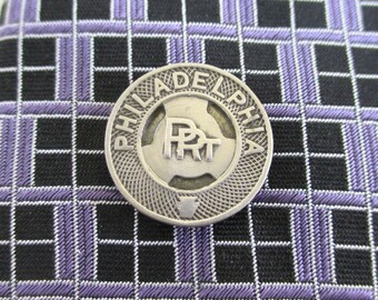 PHILADELPHIA Tie Tack - Vintage Repurposed Transit Token / Coin, Silver Tone
