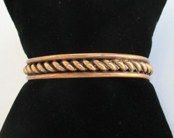 Small Solid Copper Cuff Bracelet - Vintage, Rope Cable Twist