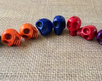 Skull Stone Beads Multi Colors