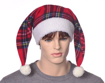 Red Plaid Jester Hat with Cream White Sherpa Headband Two Tail Two Pointed Harlequin Cap