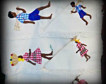 Jamaican Folk Art Applique Napkin/Placemat Set
