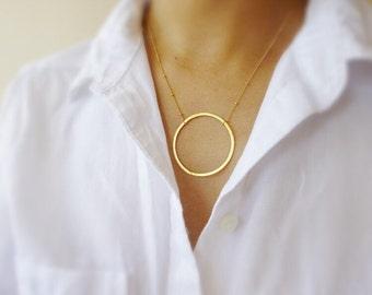 Large Circle Necklace-Gold Karma Necklace-Big Circle Necklace-Circle Of Life Necklace-Eternity Necklace-Gold Circle Necklace-Momentusny