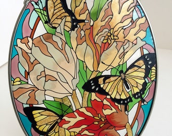 """Vintage Oval  Stained glass-colorful Butterfly/ Stained Glass wall decor/ Window Decor Stained glass 9.2""""x6.5""""/ Suncatcher stained glass"""