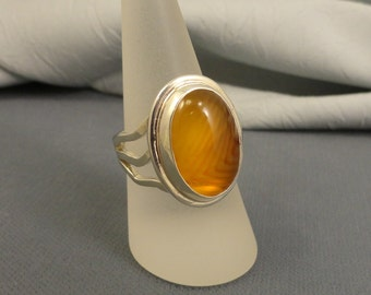 Golden Banded Agate Cabochon Sterling Silver Ring