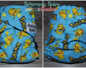 OS One Size Pokemon Pikachu Toss AI2 All in Two Cloth Diaper