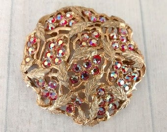 """As Is Vintage Sarah Coventry Red Aurora Floral Pin 2.25"""", Sarah Cov Aurora Lights Brooch, 1960s Leaf Jewelry"""