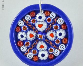 Steph Glass Cobalt Blue Millefiori Mosaic Pendant, Fused Glass Necklace, StephGlass Original Art