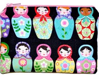Matryoshka Coin Purse Zipper Pouch Zippered Purse Wallet Card Pouch Gift Idea