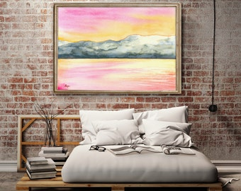 Watercolor Painting - Original Sunrise Seascape - Serene Water Art