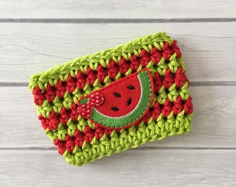 Watermelon cup cozy, fruit cup cozy, coffee cup cozy, Summer cup cozy, coffee cup sleeve, crochet cozie, planner supplies, cup cozy