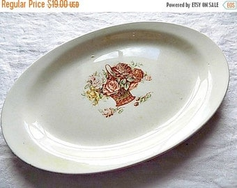 Vintage Homer Laughlon Serving Platter - Plate Dish - Roses - Cottage Chic