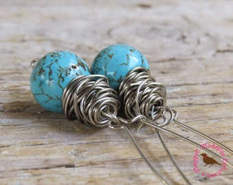 Long Boho Turquoise Dangle Earrings, Boho Turquoise Dangle Earrings, Turquoise Messy Wire Wrapped Earrings, by MagpieMadness for Etsy