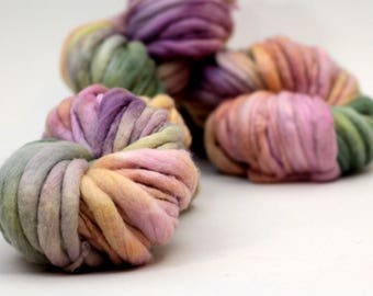 "Hand dyed yarn thick and Thin Yarn hand spun merino ""Dried Petals"", knitting yarn, dollmaking, weaving, crochet"