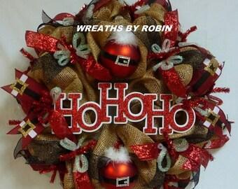 CHRISTMAS SALE HO Ho Ho Wreath, Christmas Wreath, Deco Mesh Wreath
