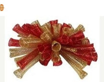 10%OFF 9 Inch Bow Ornaments With Clips XC9725A4, Red Gold, Wreath Decor, Garland Decor, Mailbox Decor
