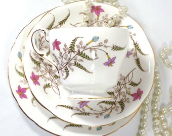 Paragon Fancy Tree China Cup Saucer and Plate 1950s