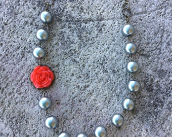 Gray Pearl and Red Rose necklace