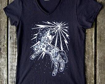V Neck Womens Tee Shirt - Ladies V Neck - Lowbrow Tattooed Unicorn Punk Rock Fantasy Illustration T Shirt S M L Xl