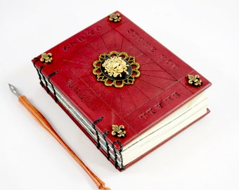 Distressed Red Leather Journal with Medusa Cameo