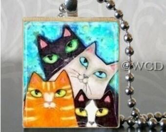 Four Cats Scrabble Tile Pendant Charm S11-7
