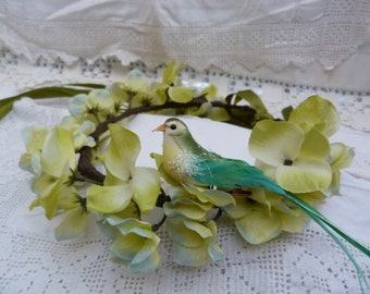 Whimsical springtime fairy crown - primrose yellow with detachable green bird